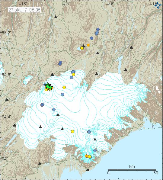 Series of large earthquakes hit Bárðarbunga last night.
