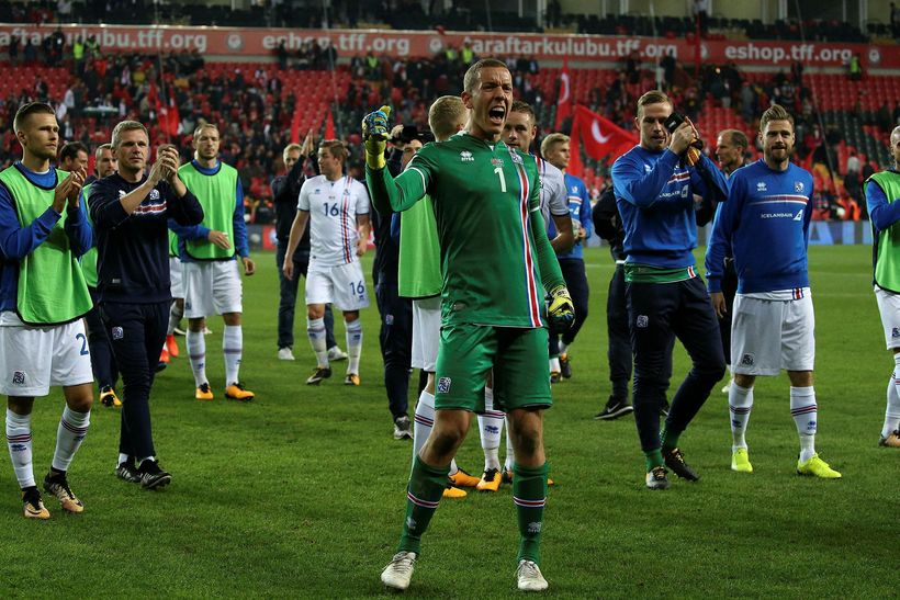 national football team celebrates after
