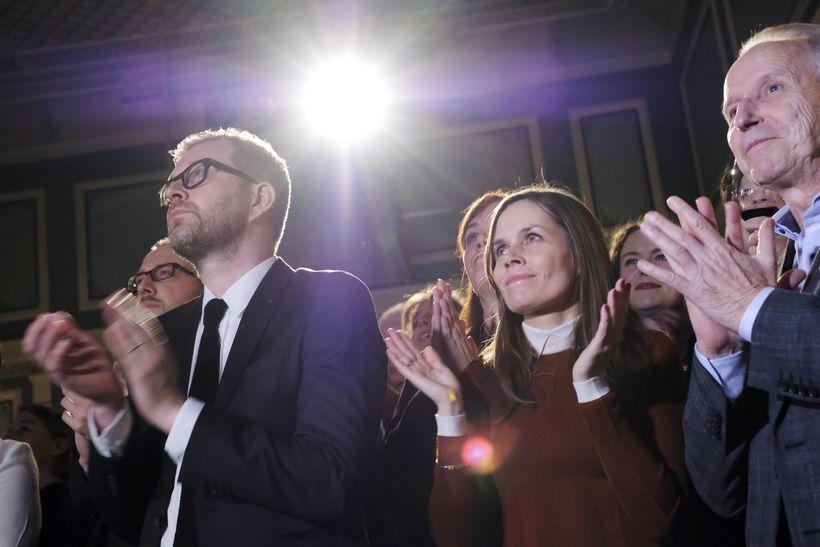 Katrín Jakobsdóttir leader of the Left-Green Movement celebrates the election ...