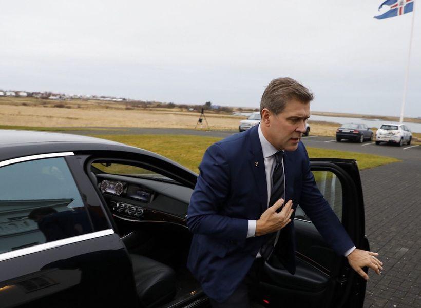 PM Bjarni Benediktsson, leader of the Independence Party arrives at ...