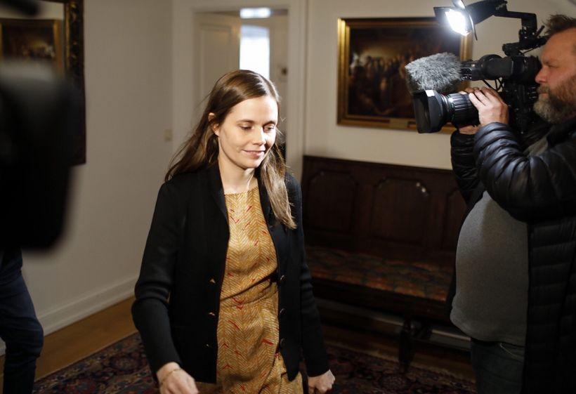 Katrín Jakobsdóttir, leader of the Left-Green Movement, arrives at Bessastaðir, ...