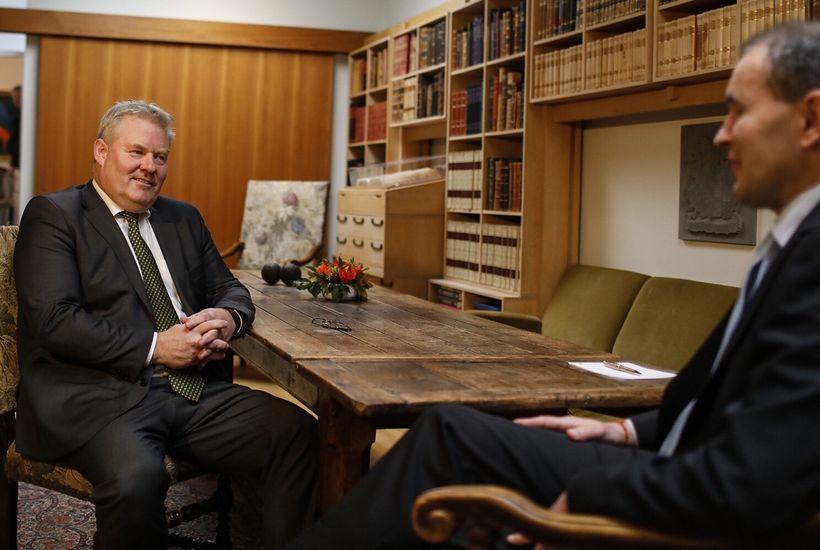 Sigurður Ingi Jóhannsson, leader of the Progressive Party meets with ...