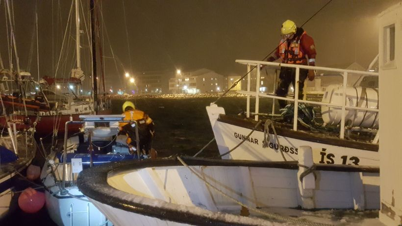 ICE-SAR members secured boats yestarday.