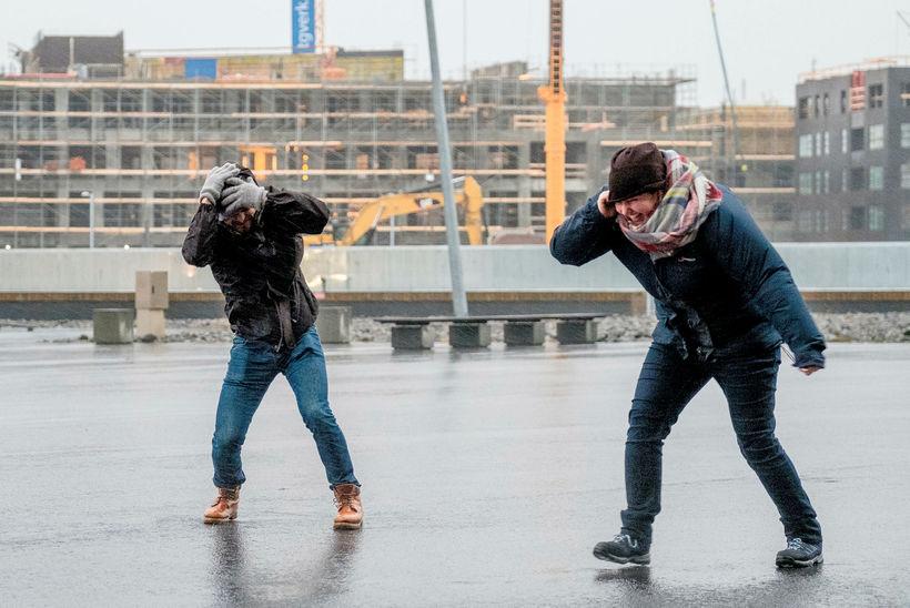 Pedestrians in Reykjavik yesterday.