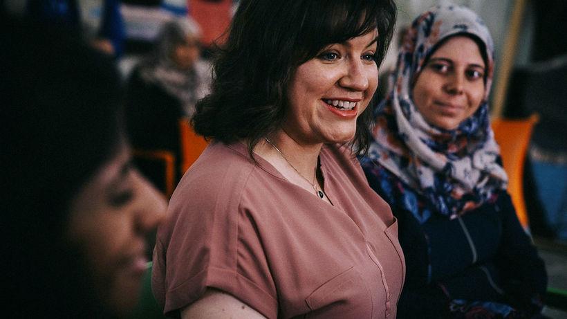 Eliza Reid at the Zaatari refugee camp.