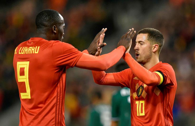 Romelu Lukaku og Eden Hazard voru markaskorarar Belgíu í kvöld.