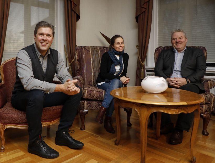 Bjarni Benediktsson, Katrín Jakobsdóttir og Sigurður Ingi Jóhannsson í Ráðherrabústaðnum ...