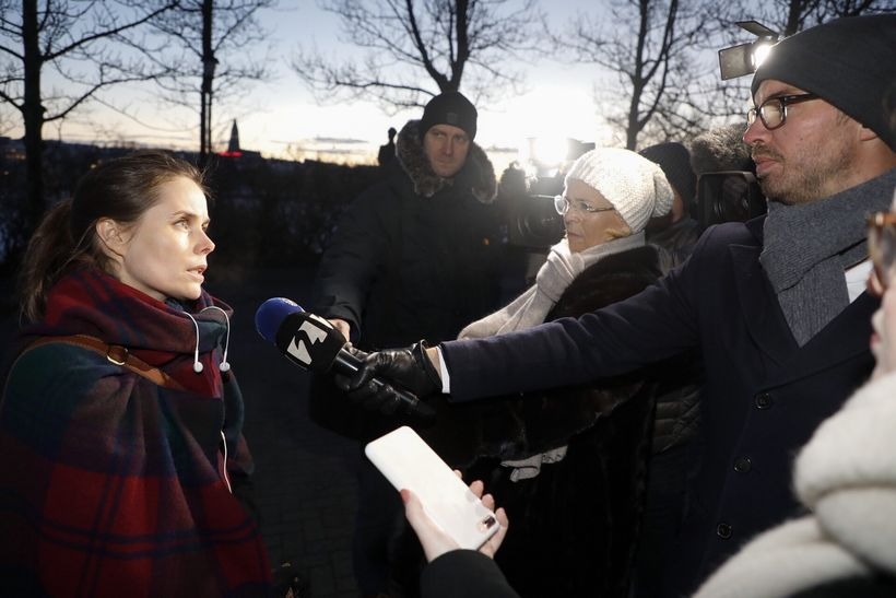 Katrín Jakobsdóttir fyrir fundinn í morgun.