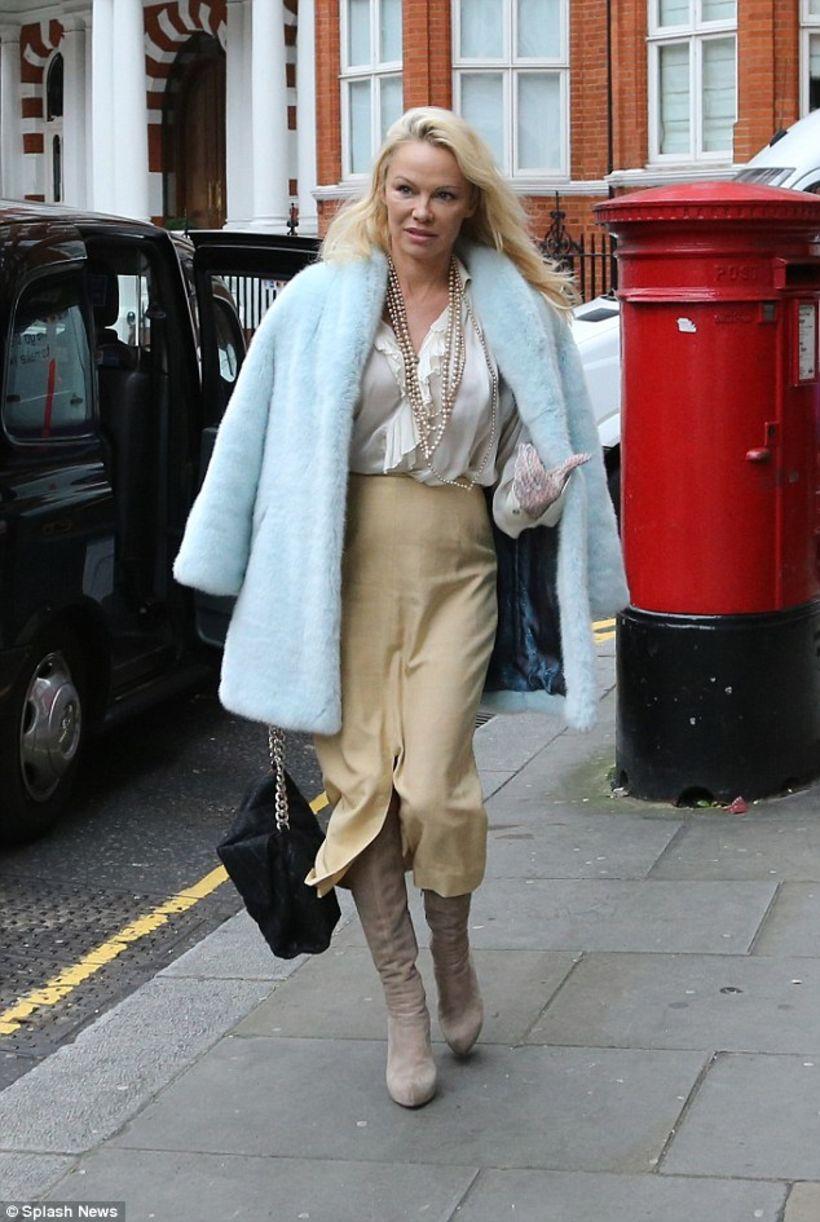 Pamela Anderson var glæsileg til fara þegar hún heimsótti Julian ...