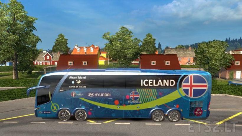 Íslenska rútan á EM í Frakklandi.