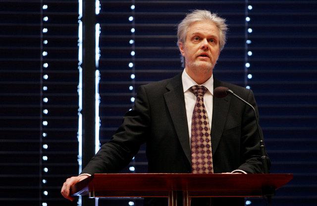 Ólafur F. Magnússon á borgarstjórnarfundi í dag.
