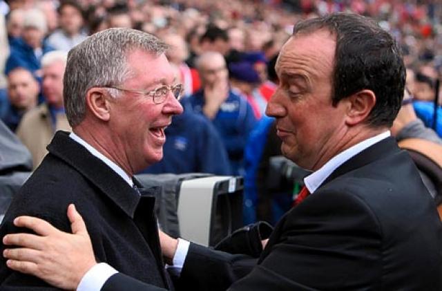 Knattspyrnustjórarnir Sir Alex Ferguson og Rafael Benítez. Þeir eru ekki ...