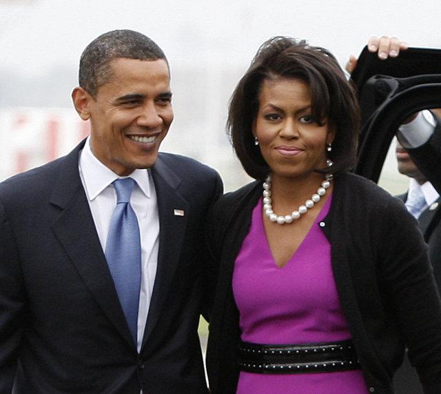 Obama með konu sinni, Michelle.
