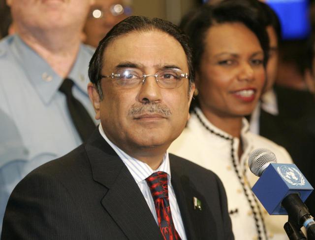 Asif Ali Zardari, forseti Pakistans, með Condoleezzu Rice, fyrrum utanríkisráðherra ...