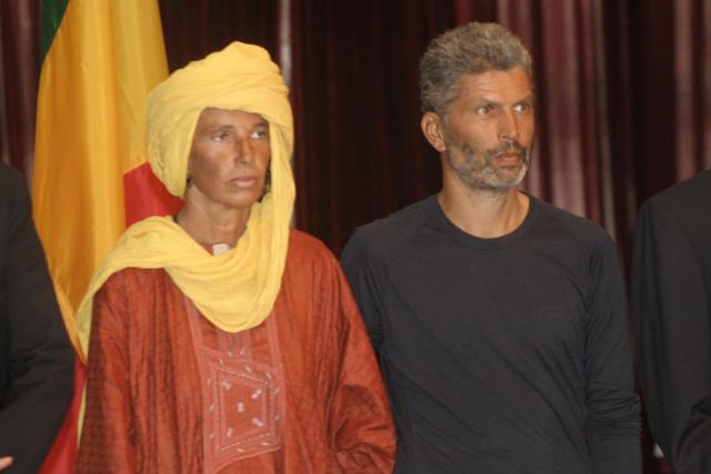 Andrea Kloiber og Wolfgang Ebner í forsetahöllinni í Malí, daginn ...