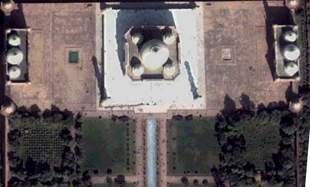Taj Mahal hótelið í Mumbai séð úr Google Earth forritinu