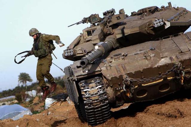 Ísraelskur skriðdreki á Gaza.