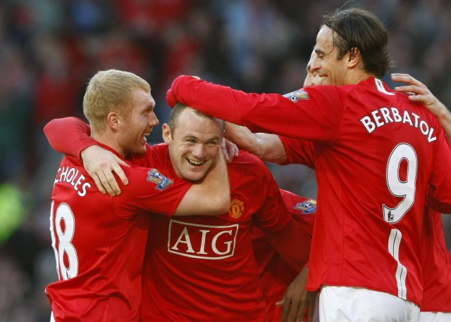 Paul Scholes, Wayne Rooney og Dimitar Berbatov voru allir með ...