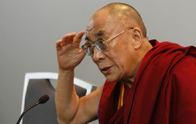 Dalai Lama á blaðamannafundi í Reykjavík í dag.