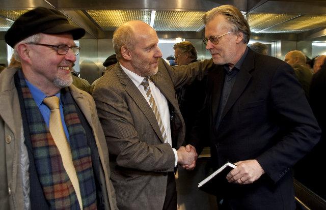 Jón Bjarnason, Steingrímur J. Sigfússon og Ögmundur Jónasson á góðri ...