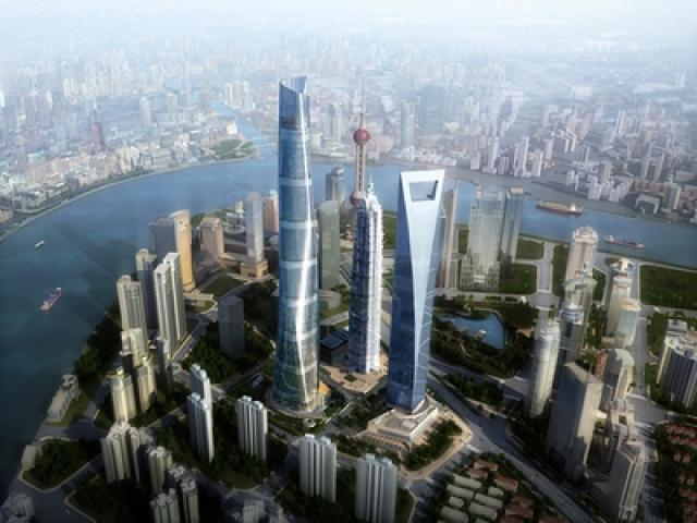Svona mun fjármálahverfið Pudong í stórborginni Shanghai líta út á ...