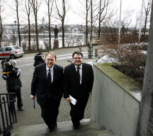 Halldór J. Kristjánsson og Sigurjón Þ. Árnason fyrrum bankastjórar Landsbankans