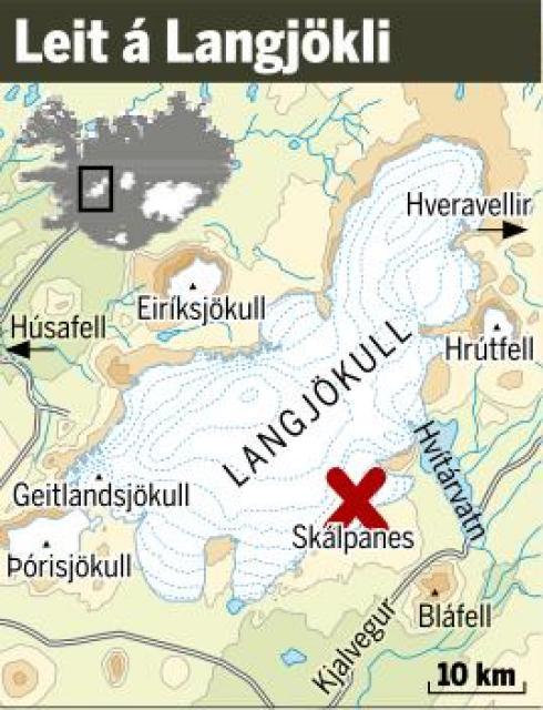 Fólkið fannst rétt inni á Langjökli, við Skálpanesskála.