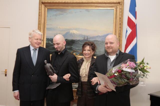 Magni og Áskell Heiðar ásamt forsetahjónunum á Bessastöðum í dag.