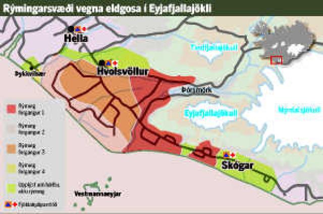 Hér sést rýmingarsvæði vegna eldgosa í Eyjafjallajökli.