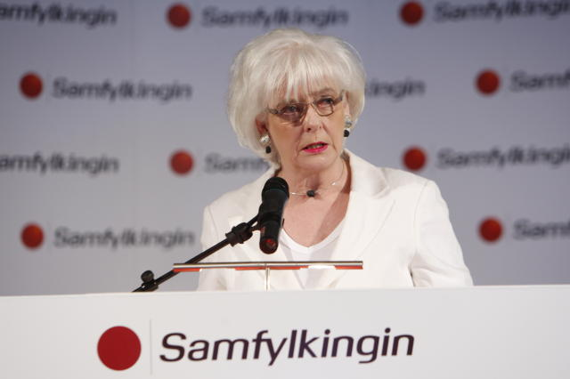 Jóhanna Sigurðardóttir á flokksráðsfundi Samfylkingarinnar fyrr á kjörtímabilinu.