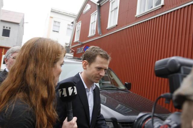 Hreiðar Már Sigurðsson kemur í héraðsdóm í morgun.