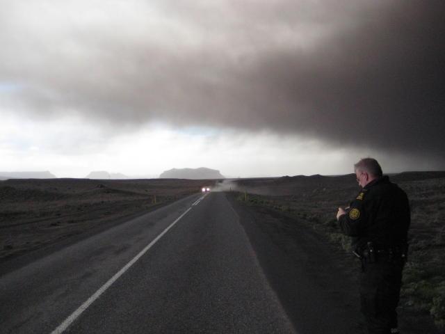 Myndin var tekin í nágrenni Eyjafjallajökuls í kvöld.