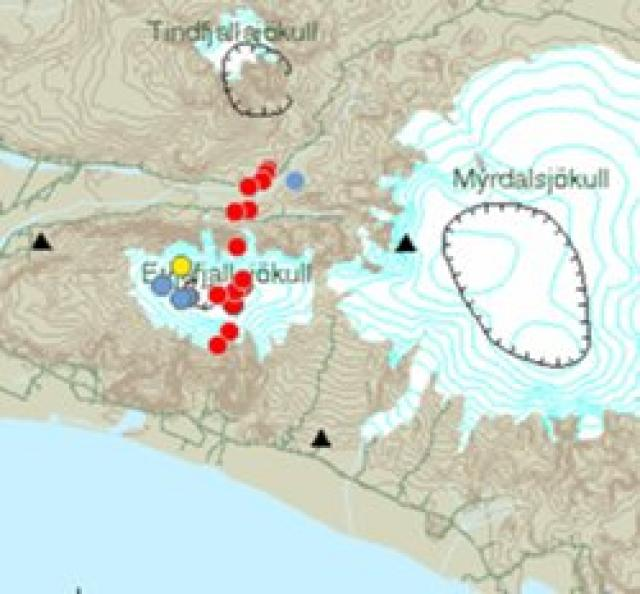 Kort frá Veðurstofunni sem sýnir staðsetningu skjálftanna.
