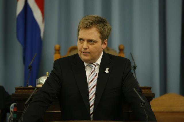 Sigmundur Davíð Gunnlaugsson á Alþingi í kvöld.