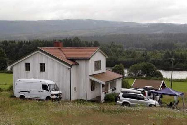 Bóndabærinn sem Breivik leigði á Hedmark.
