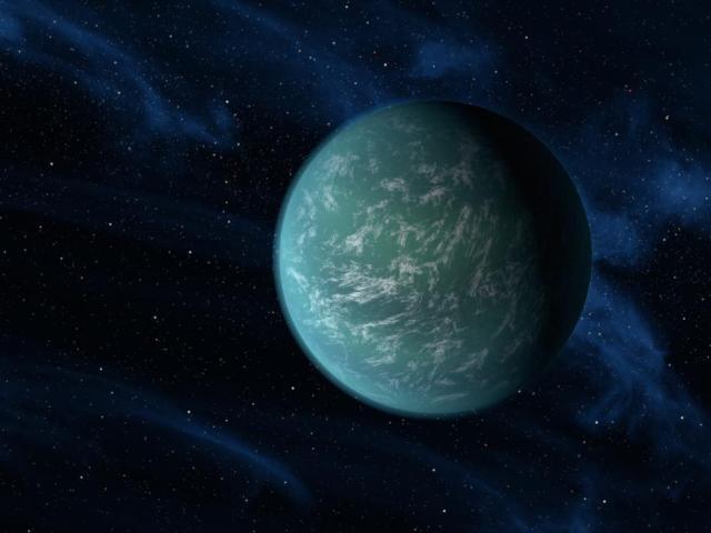Tölvumynd af plánetunni Kepler 22b.