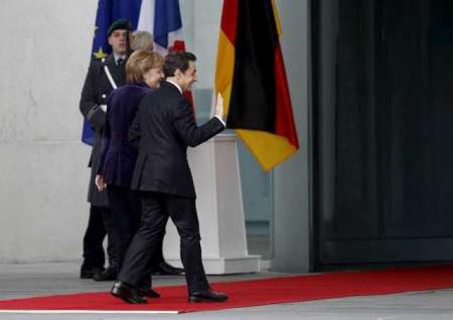 Merkel og Sarkozy í Berlín í dag.