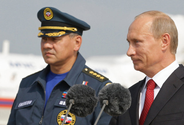 Sergei Shoigu ásamt Vladimir Pútín, forseta Rússlands.