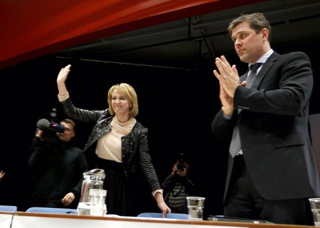 Bjarni Benediktsson og Hanna Birna Kristjánsdóttir á fundinum í morgun.