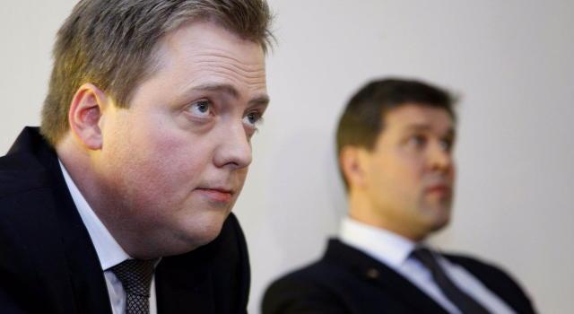Sigmundur Davíð Gunnlaugsson formaður Framsóknarflokksins og Bjarni Benediktsson, formaður Sjálfstæðisflokksins.