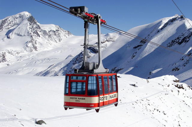 A cable-car in the Alps.