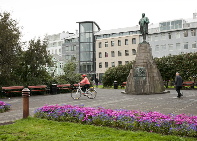 Frá Austurvelli í Reykjavík.