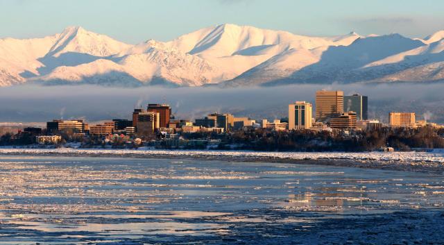 Anchorage, stærsta borg Alaska.