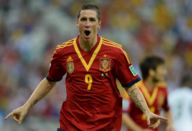 Fernando Torres fagnar marki gegn Nígeríu.