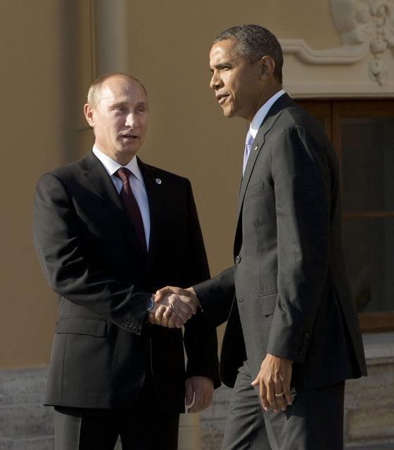 Vladimir Putin, forseti Rússlands og Barack Obama, forseti Bandaríkjanna, tókust ...