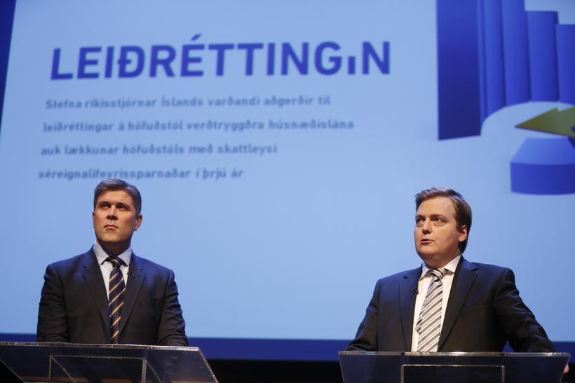 Bjarni Benediktsson fjármálaráðherra og Sigmundur Davíð Gunnlaugsson forsætisráðherra kynntu aðgerðir ...