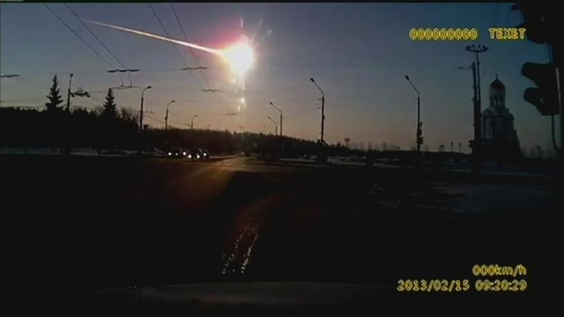 Loftsteinninn yfir Chelyabinsk.