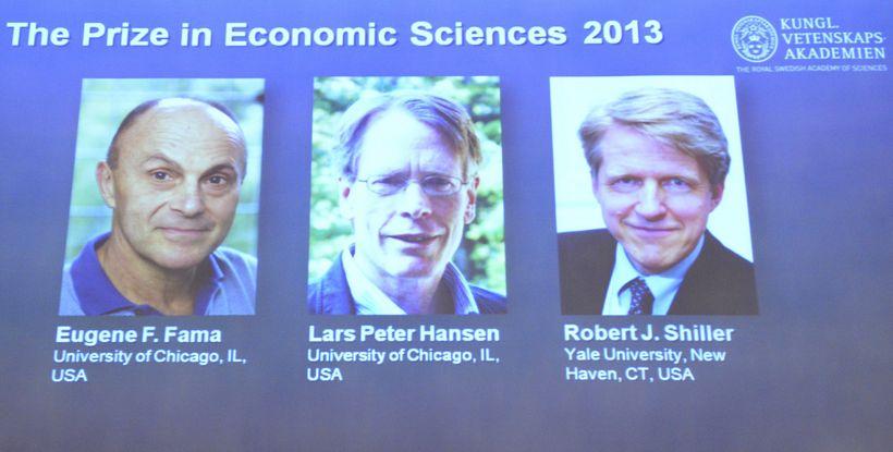 Hagfræðingarnir Eugene F Fama, Lars Peter Hansen og Robert J ...