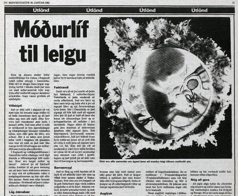Grein DV um staðgöngumóður frá árinu 1985.