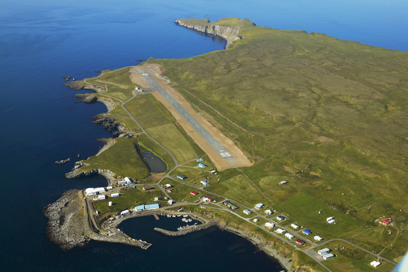 Get to Grímsey by air or sea.